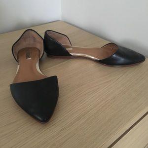 HALOGEN Black Leather Flats
